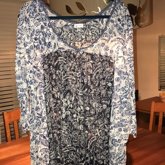 621e17cd914b4 Avenue Tops - Plus size 3x bluer and white 3 4 sleeve shirt